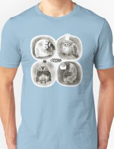 Four Pastel Owls in Funny Hats Unisex T-Shirt