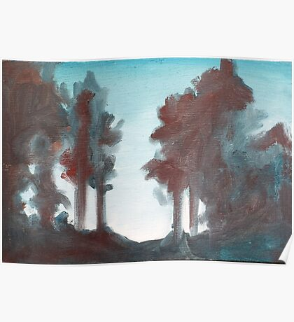 Trees in woods Poster