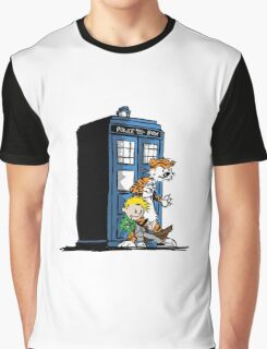 calvin and hobbes police box in action Graphic T-Shirt