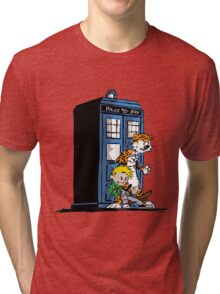 calvin and hobbes police box in action Tri-blend T-Shirt