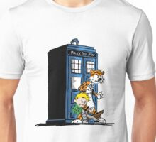calvin and hobbes police box in action Unisex T-Shirt