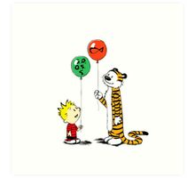calvin and hobbes ballon Art Print
