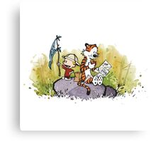Calvin And Hobbes mapping Canvas Print