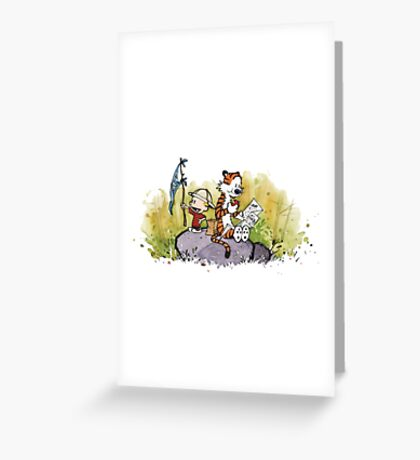 Calvin And Hobbes mapping Greeting Card