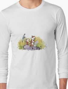 Calvin And Hobbes mapping Long Sleeve T-Shirt