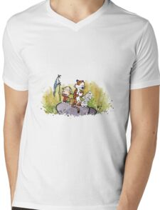 Calvin And Hobbes mapping Mens V-Neck T-Shirt