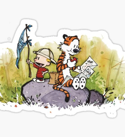 Calvin And Hobbes mapping Sticker