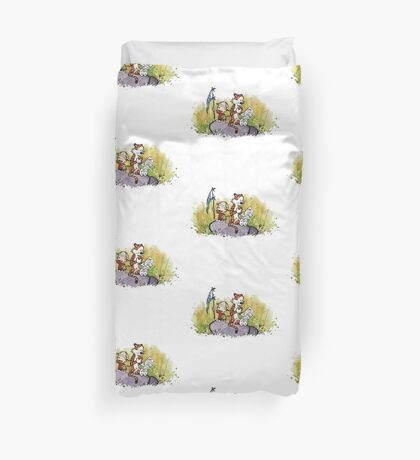 Calvin And Hobbes mapping Duvet Cover