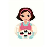 Cooking Mother holding cookies Art Print