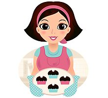 Cooking Mother holding cookies Photographic Print