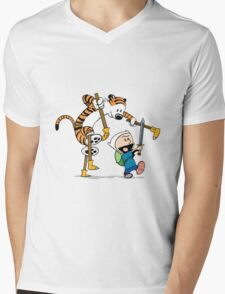 hobbes and calvin time advanture Mens V-Neck T-Shirt