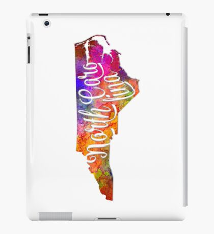 North Carolina US State in watercolor text cut out iPad Case/Skin