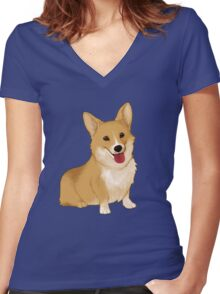 Cute smiling corgi Women's Fitted V-Neck T-Shirt