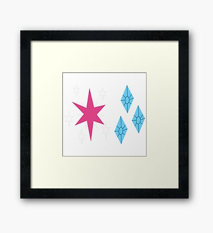 My little Pony - Twilight Sparkle + Rarity Cutie Mark V3 Framed Print