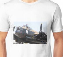 Four Engine Avro Lancaster Bomber prepare to start engines. Unisex T-Shirt
