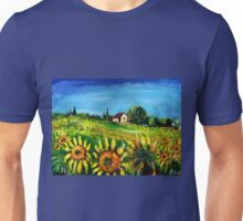 SUNFLOWERS AND COUNTRYSIDE IN TUSCANY Unisex T-Shirt