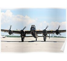 Four Engine Avro Lancaster Bomber. with  started engines ready for start. Poster