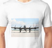 Four Engine Avro Lancaster Bomber. with  started engines ready for start. Unisex T-Shirt
