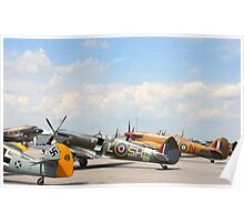Fighters aeroplanes ME-109 German, Supermarine Spitfire and Hawker Hurricane England, in line ready to flight in formation.  Poster