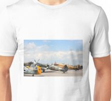 Fighters aeroplanes ME-109 German, Supermarine Spitfire and Hawker Hurricane England, in line ready to flight in formation.  Unisex T-Shirt
