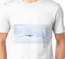 Flying in formation Bomber Avro Lancaster and fighters ME-109 German, Supermarine Spitfire and Hawker Hurricane England. Unisex T-Shirt
