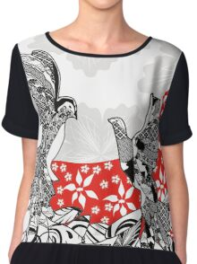 Birds Flowers and the Moon Chiffon Top