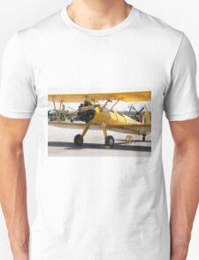 Boeing Stearman PT-27 Kadet single engine trainer front view cockpits and engine. Unisex T-Shirt