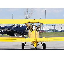 Boeing Stearman PT-27 back view cockpits and pilots. Photographic Print
