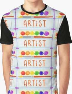 Artist Paint Palette and Brush Watercolor Graphic T-Shirt