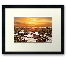 orange reflections at rocky beal beach Framed Print
