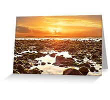 orange reflections at rocky beal beach Greeting Card