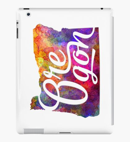 Oregon US State in watercolor text cut out iPad Case/Skin