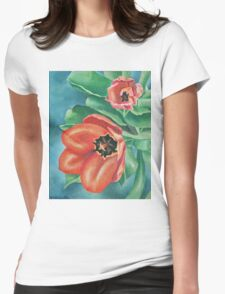 Red Tulips Painting Womens Fitted T-Shirt