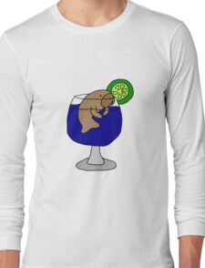 Funny Manatee in Margarita Glass Long Sleeve T-Shirt