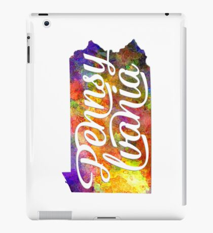 Pennsylvania US State in watercolor text cut out iPad Case/Skin