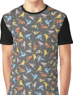 Bird Shapes from Vintage Flower Wallpaper on Grey Gray Charcoal Anthracite Black Graphic T-Shirt