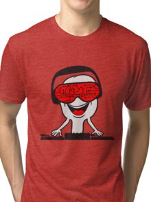 music party dj disco party headphones mischpult glasses technology sunglasses cool Tri-blend T-Shirt