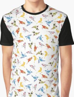 Bird Shapes from Vintage Flower Wallpaper on White Graphic T-Shirt