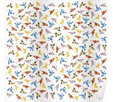 Bird Shapes from Vintage Flower Wallpaper on White Poster