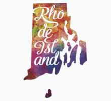 Rhode Island US State in watercolor text cut out One Piece - Long Sleeve