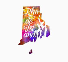 Rhode Island US State in watercolor text cut out T-Shirt