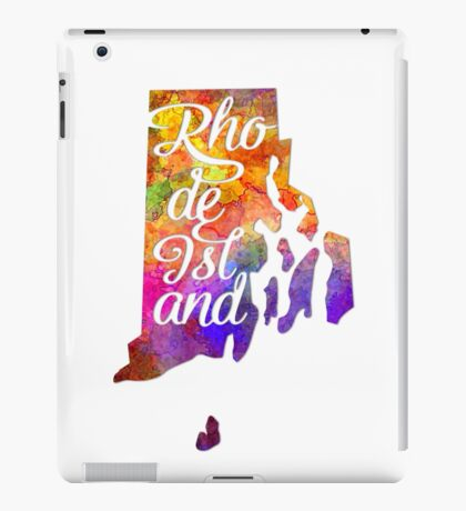 Rhode Island US State in watercolor text cut out iPad Case/Skin
