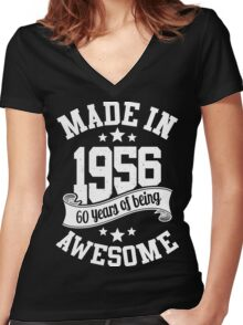 Made in 1956 , 60 Years of Being Awesome T Shirts & Hoodies , Mugs , Gifts & More ( 2016 Birthday ) Women's Fitted V-Neck T-Shirt