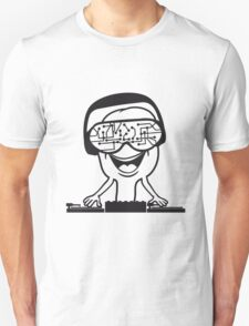 music party dj disco party headphones mischpult glasses technology sunglasses cool Unisex T-Shirt
