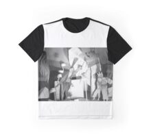 Black and White 3-D Collage Graphic T-Shirt