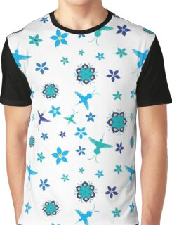 Hummingbirds and Flowers - Blues and Greens Graphic T-Shirt