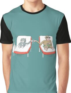 Monkey and Tuxedo Cat by the Pool Graphic T-Shirt