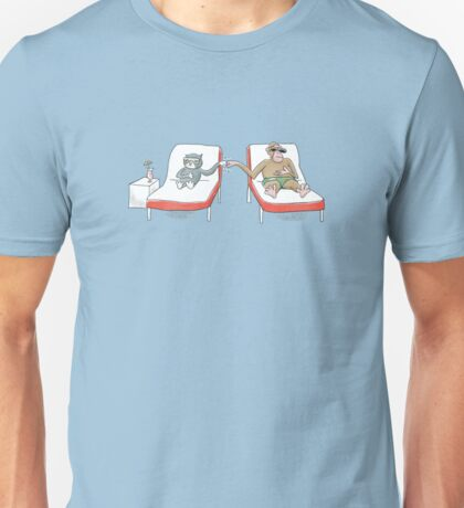 Monkey and Tuxedo Cat by the Pool Unisex T-Shirt