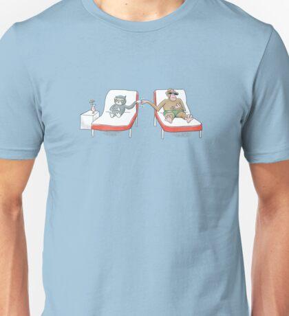 Monkey and Tuxedo Cat by the Pool Unisex T-Shirt