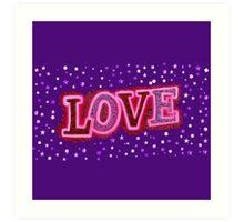 Pink Neon Sparkle Love Art Print